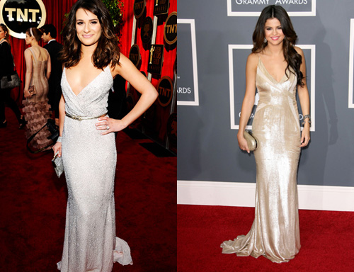 Selena Gomez wore a similar look to the 2011 Grammy Awards in this J. Mendel