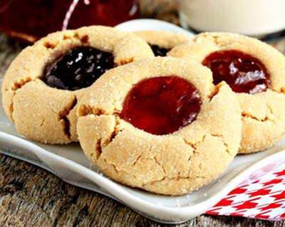 Peanut butter and jelly thumbprint cookies recipes