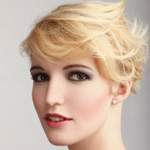 Blond woman with winter updo hairstyle