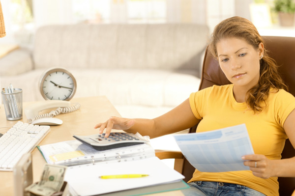 Woman going over budget