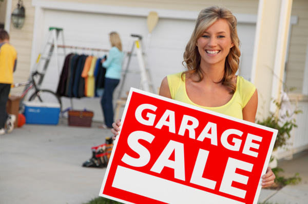 Woman having garage sale