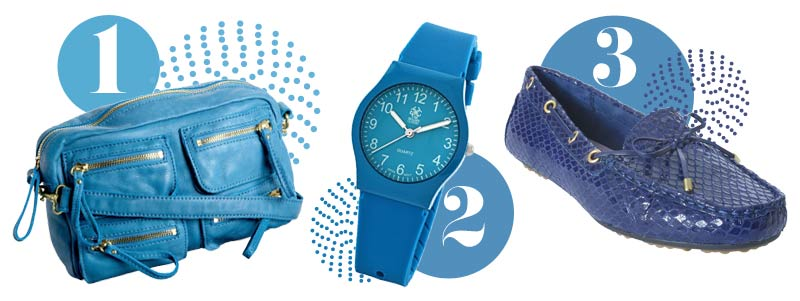 Blue accessories for spring: Blue handbag, blue watch, blue flats
