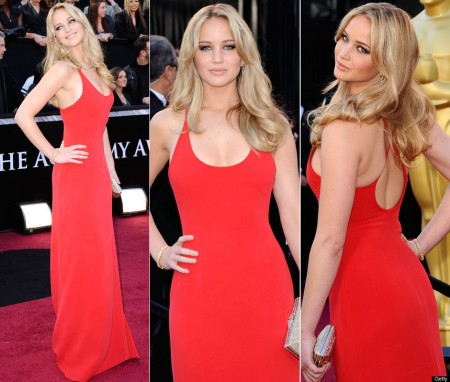 Gold Dress on Major Heads On The Red Carpet With Her Red Hot Calvin Klein Dress