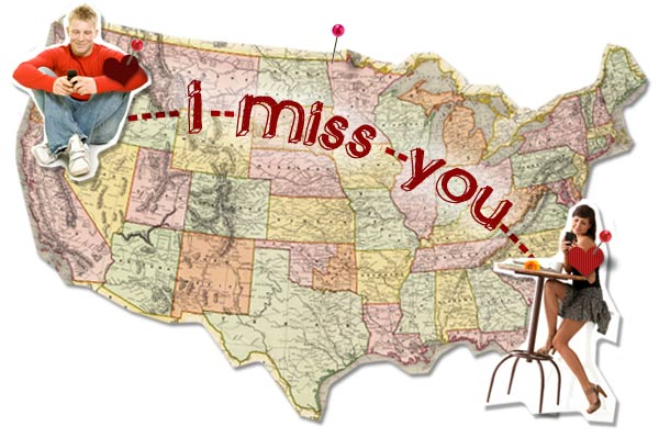 Couple in a long distance relationship map
