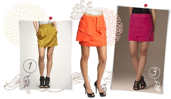 Bold, bright colored skirts