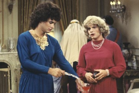 Tom Hanks in Bosom Buddies. He's the pretty one.