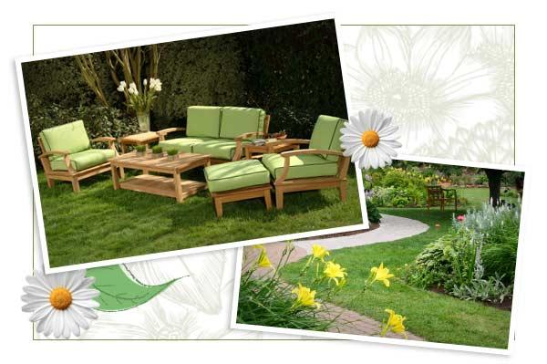 Spring garden and patio
