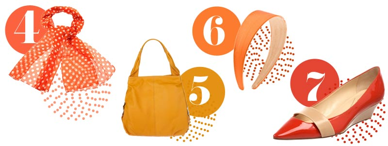 Orange accessories for spring: orange scarf, orange handbag, orange headband