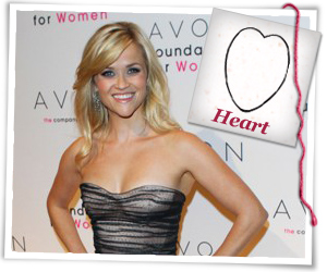 Reese Witherspoon with a heart face hairstyle