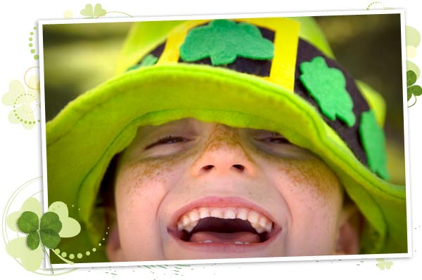 Little boy wearing a St. Patrick's Day hat