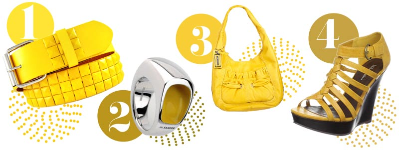 Yellow accessories for spring: yellow belt, yellow ring, yellow purse, yellow shoes