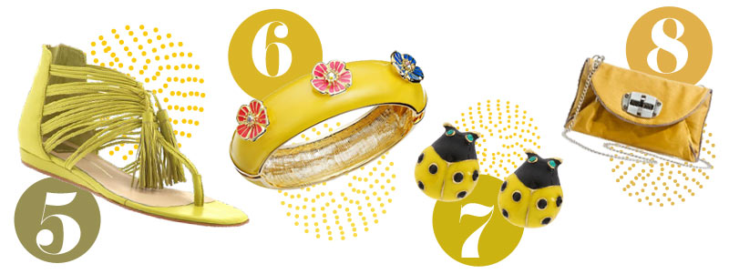 Yellow accessories for spring: Yelow sandals, yellow bracelet, yellow earrings, yellow clutch