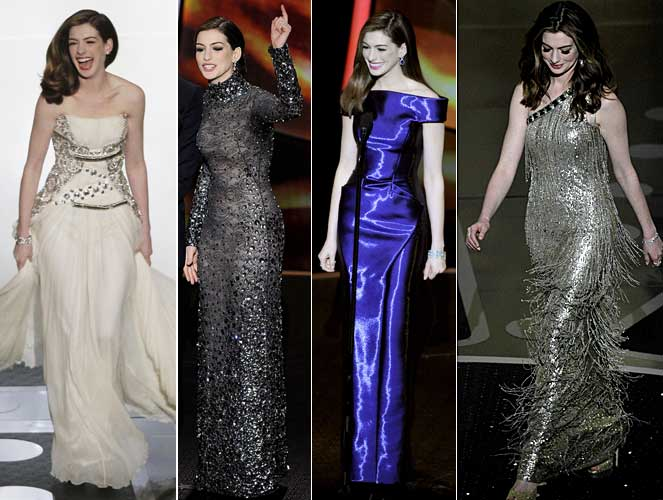 Anne Hathaway's 2011 Oscar red carpet dresses