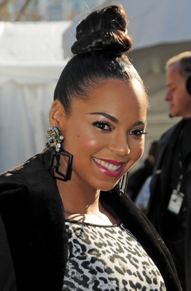 Ashanti's topknot updo hairstyle