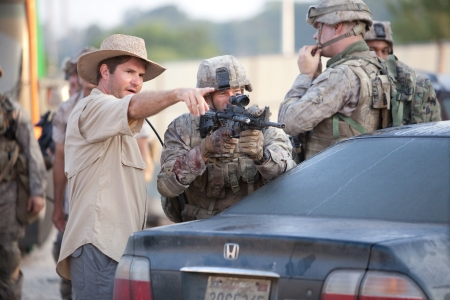 Battle: Los Angeles director Jonathan Liebesman directs Aaron Eckhart