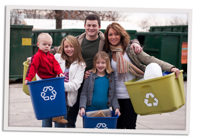 Happy recyling family