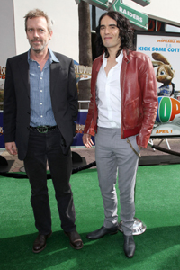 Russell Brand and Hugh Laurie at Hop premiere