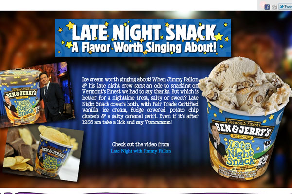 Late Night Snack Jimmy Fallon ice cream