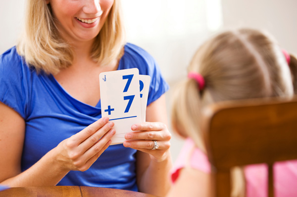 Mom and daughter with flash card