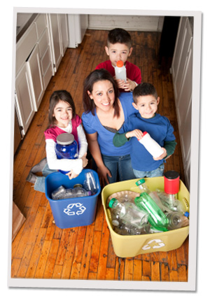 Mom and kids recycling