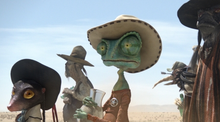 Johnny Depp is Rango with Abigail Breslin as mouse