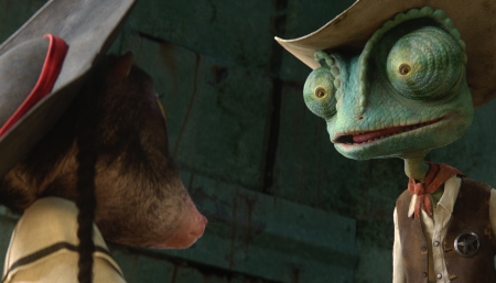 Johnny Depp and Abigail Breslin in Rango