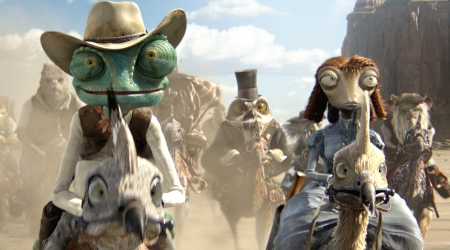 Johnny Depp leads a posse in Rango