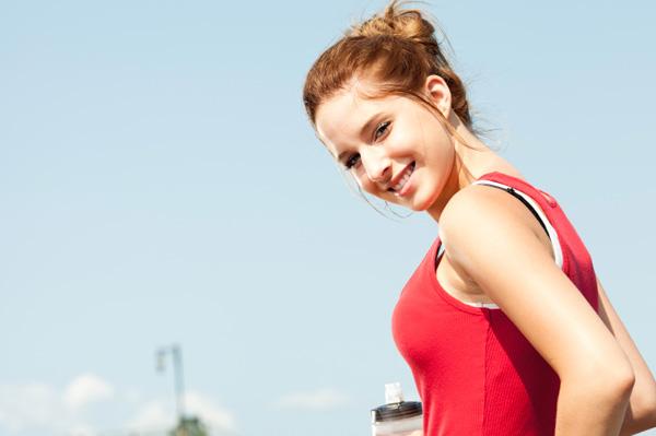 Teen girl going for run