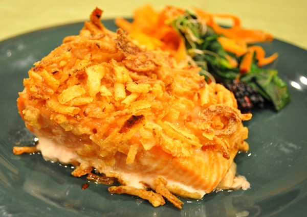 Fried onions make salmon family friendly