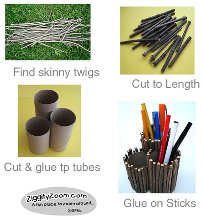 Twig pencil holder craft
