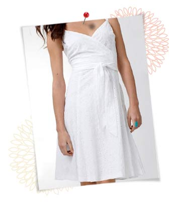 White sun dress, $100 at JcPenny