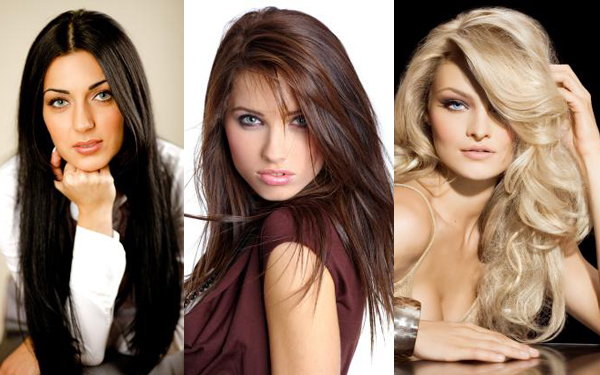 Women with long hair extensions