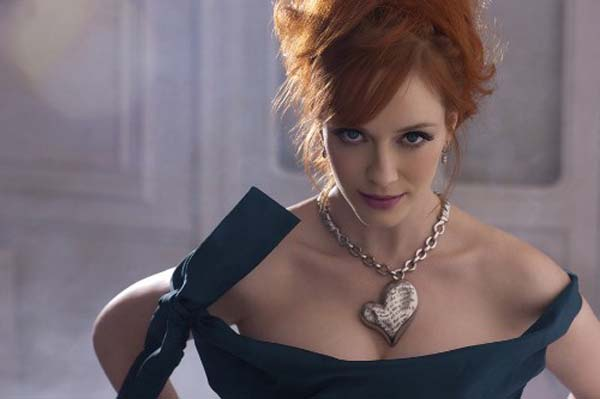 Christina Hendricks cleavage shows off Vivienne Westwood jewelry