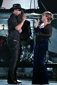 Kelly Clarkson performing on American Idol this week