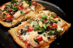 Skordalia, shrimp and herb Greek Pizza