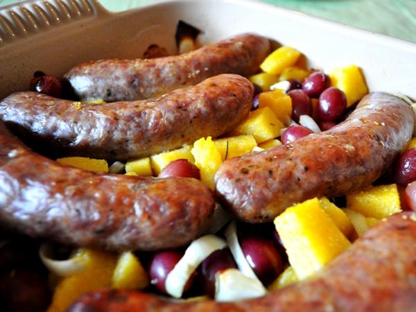 Grapes add a nice tang to Italian sausage