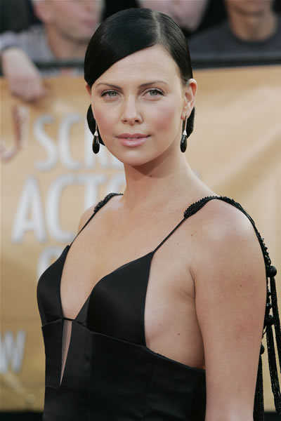Charlize Theron's sleek chignon updo hairstyle