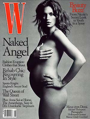 Cindy Crawford pregnant on W Magazine cover