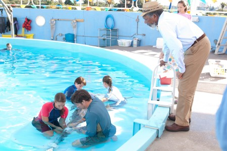 Morgan Freeman on the set of Dolphin Tale