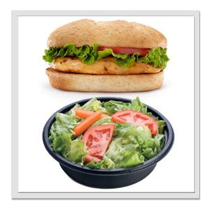Chicken sandwich and a side garden salad