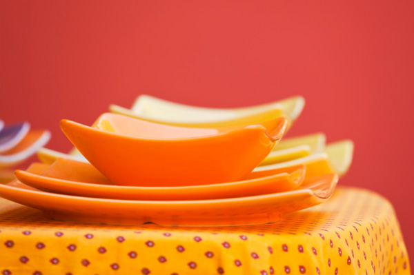 Funky orange plates