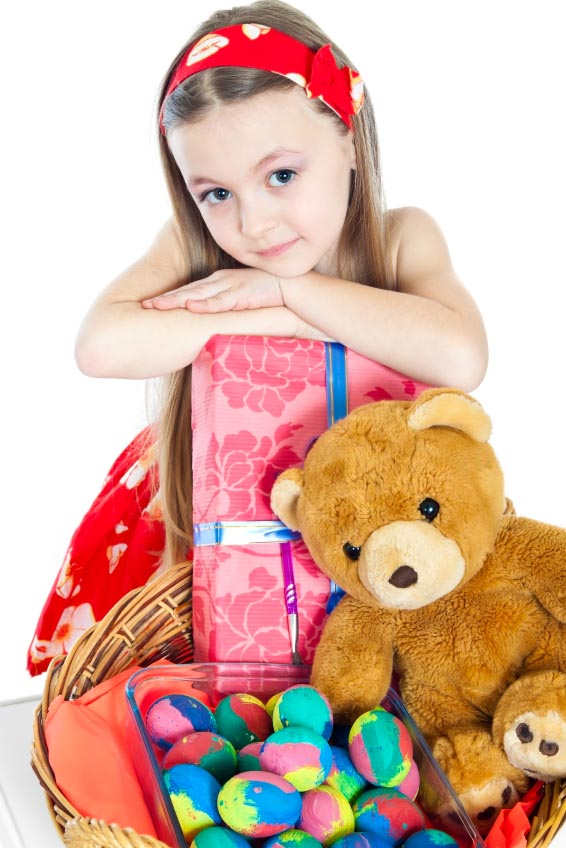 girl with easter gifts