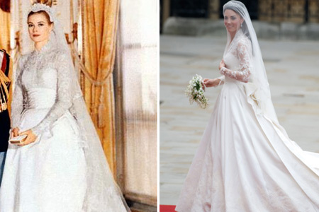 Grace Kelly wedding dress and Kate Middleton wedding dress