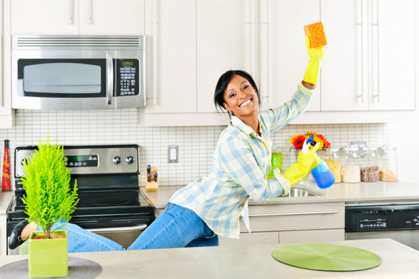 Happy mom cleaning