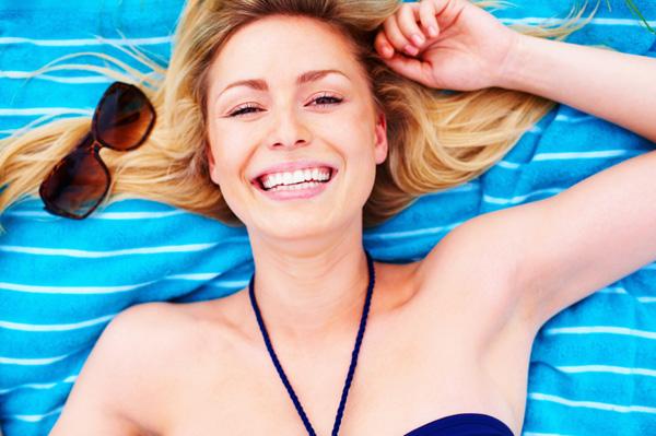 Happy woman in bikini