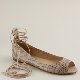 J.Crew Lana Lace-Up Snakeskin Ballet Flats for the royal wedding