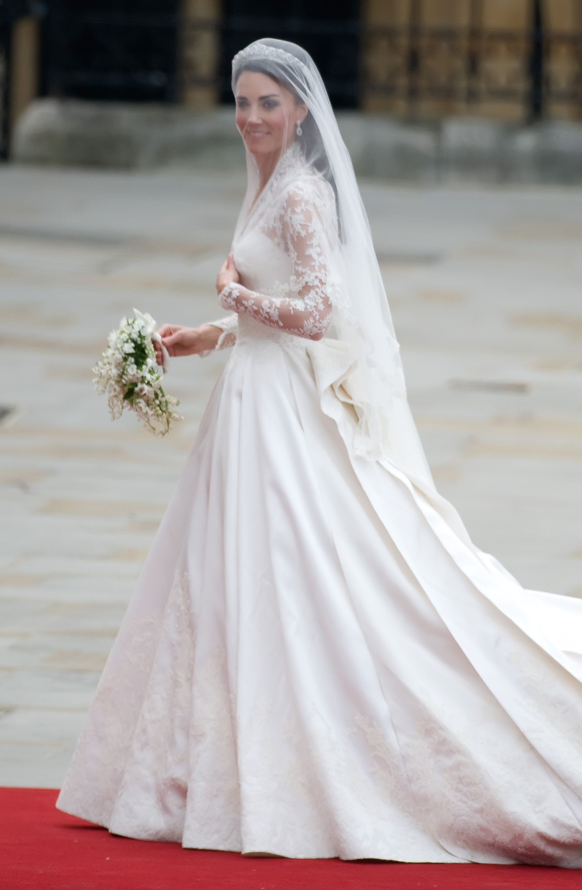 Full-length shot of Kate Middleton's royal wedding dress