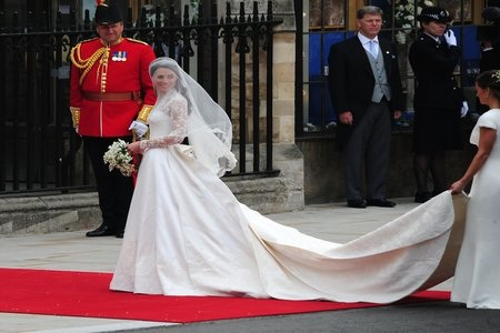 Princess Catherine making a grand entrance with her wedding dress