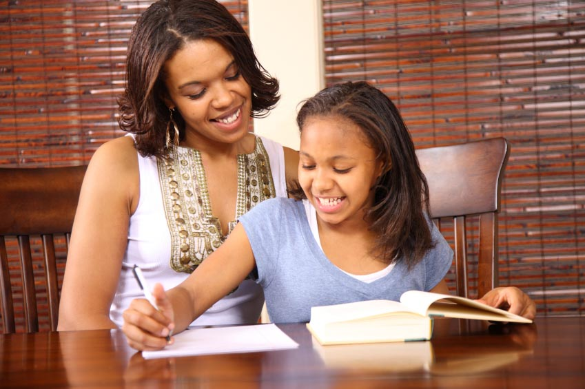 mother and daughter writing