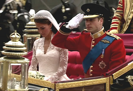 Prince William of Wales and Kate Middleton royal wedding carriage
